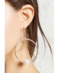 Forever 21 - Faux Pearl Hoop Earrings - Lyst