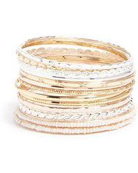 Forever 21 - Women's Etched & Beaded Bangle Bracelet Set - Lyst