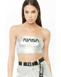 b94901fab2 Forever 21 - Metallic Nasa Cropped Tube Top - Lyst