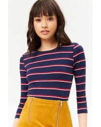 4fe7e102ddb89 Forever 21 Striped Button-front Top in Blue - Lyst