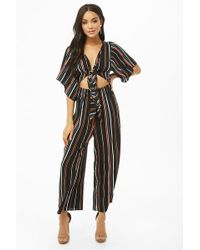 02bc27fe7c2 Forever 21 - Striped Tie-front Cutout Jumpsuit - Lyst