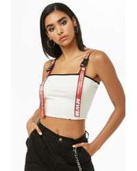 Forever 21 - Buckle-strap Ribbed Crop Top - Lyst