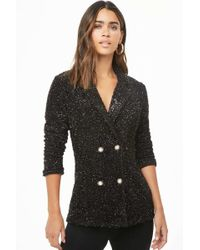 Forever 21 - Fuzzy Metallic Double-breasted Blazer - Lyst