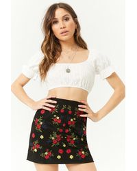 Forever 21 - Embroidered Faux Suede Mini Skirt - Lyst