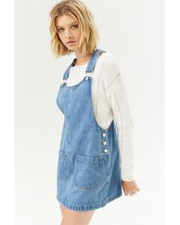 e8e5a4524a8 Lyst - Forever 21 Life In Progress Trade  Rustic Overall Dress in Blue