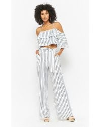 Forever 21 - Striped Open-shoulder & Palazzo Pants Set - Lyst