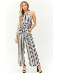 fd11ed7ac97 Forever 21 Striped Tie-front Jumpsuit in Blue - Lyst