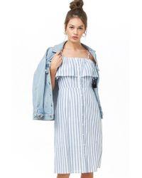 887ecbaaf080 Forever 21 - Striped Open-shoulder Dress - Lyst