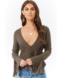Forever 21 - Flounce Trumpet-sleeve Top - Lyst