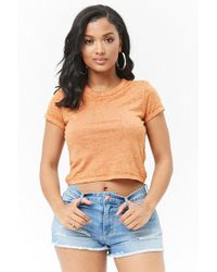 e18eb65f5a9d5a Forever 21 Semi-cropped Slub Knit Tee in Yellow - Lyst