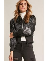 Forever 21 - Members Only Floral Satin Quilted Bomber Jacket - Lyst