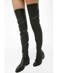 Forever 21 - Faux Leather Thigh-high Boots - Lyst