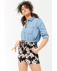 Forever 21 - Women's Tie-waist Floral Print Shorts - Lyst