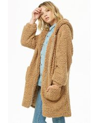 Forever 21 - Woven Heart Hooded Faux Shearling Jacket - Lyst