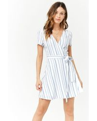 Forever 21 - Striped Surplice Wrap Dress - Lyst