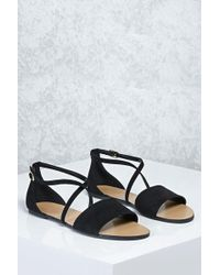 7563b8fd01 Forever 21 Braided Faux Suede Sandals in Black - Lyst