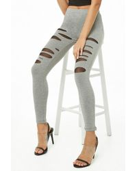 Forever 21 - Distressed Heathered Leggings - Lyst