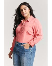 Forever 21 - Plus Size Woven Faded Stripe Shirt - Lyst