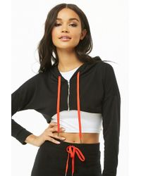 Forever 21 - Women's Cropped Zip-front Hoodie - Lyst