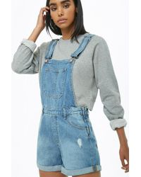 Forever 21 - Cuffed Denim Overall Shorts - Lyst