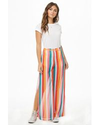 Forever 21 - Striped Chiffon Palazzo Trousers - Lyst