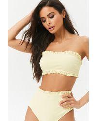 2193fff25fb Forever 21 Plus Size Bandeau Halter Bikini Top in Pink - Lyst
