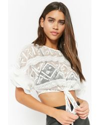 86ecee1673a2b Lyst - Forever 21 Sheer Embroidered Lace Peplum High-low Top in White
