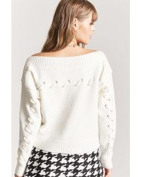 Forever 21 | Lace-up Boat Neck Sweater | Lyst