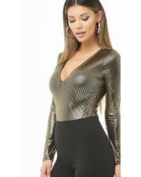 Forever 21 - Metallic Striped Bodysuit - Lyst