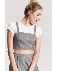Forever 21 - Glen Check Crop Top - Lyst
