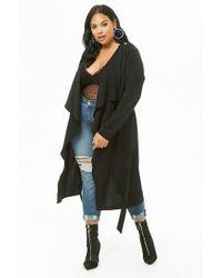 4d3728c304 Forever 21 - Women s Plus Size Longline Drape-front Cardigan Jumper - Lyst