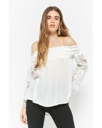 Forever 21 - Semi-sheer Gauze High-low Top - Lyst