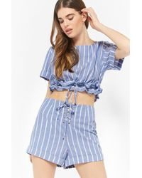 Forever 21 - Striped Ruffle-trim Top & Shorts Set - Lyst