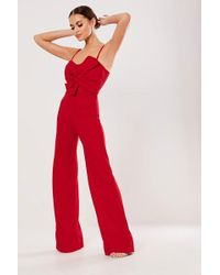 Missguided - Bow Jumpsuit At - Lyst