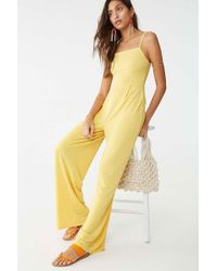 11fb987fd823 Forever 21 Strapless Pleated Jumpsuit in Red - Lyst