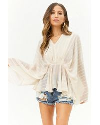 Forever 21 - Sheer Textured Striped Peasant Top - Lyst