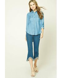 Forever 21 - High-low Chambray Shirt - Lyst