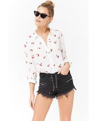Forever 21 - Lace-up Denim Cutoff Shorts - Lyst