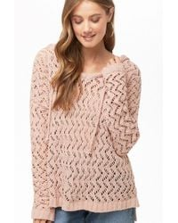 Forever 21 - Hooded Open-knit Sweater , Blush - Lyst