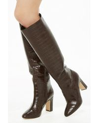 Forever 21 - Faux Croc Over-the-knee Boots - Lyst