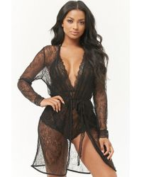 Forever 21 - Women's Scalloped Lace Robe - Lyst
