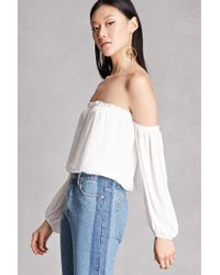 21868016011 Forever 21 Lush Crepe Off-the-shoulder Top in White - Lyst