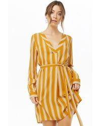 1e09977c95 Lyst - Forever 21 Plaid Open-shoulder Shirt Dress in Yellow
