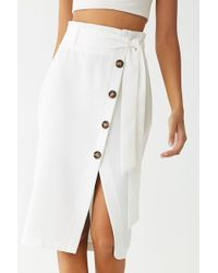 Forever 21 - Belted Asymmetrical Button-front Skirt - Lyst