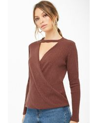 49e984d2c456d Lyst - Forever 21 Ribbed Knit Mock Neck Top in Purple