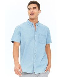 Forever 21 - Fitted Chambray Button-up Shirt - Lyst