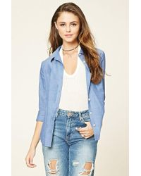 Forever 21 - Cotton Woven Shirt - Lyst