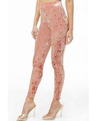 6fdb28b58e1ba9 Forever 21 Shimmering High-Waist Leggings in Pink - Lyst