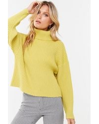 Forever 21 - Ribbed Turtleneck Sweater , Citron - Lyst