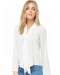 95ed6452b5d075 Forever 21 Embroidered Bell-sleeve Peasant Top in Natural - Lyst